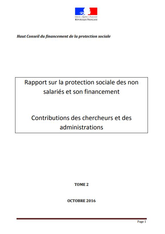 Rapport sur la protection sociale des non salaries et son financement